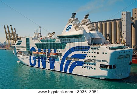 Barcelona, Spain - March 30, 2016: Ocean Liner Gnv Rhapsody Genova In Sea Port. Cruise Destination O