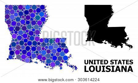 Blue Circle Dot Mosaic And Solid Map Of Louisiana State. Vector Geographic Map Of Louisiana State In