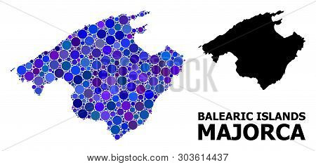 Blue Circle Mosaic And Solid Map Of Majorca. Vector Geographic Map Of Majorca In Blue Color Tones. A