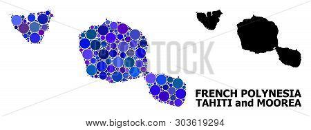 Blue Circle Dot Mosaic And Solid Map Of Tahiti And Moorea Islands. Vector Geographic Map Of Tahiti A