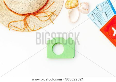 Funny Vocation Concept With Camera, Hat, Passport And Tickets On White Background Top View