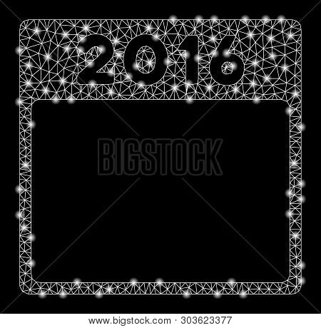 Bright Mesh 2016 Year Calendar Template With Glow Effect. Shiny Wire Carcass Triangular Mesh In Vect