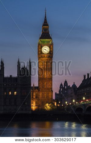 Big Ben View At Night In London United Kingdom