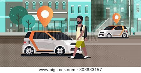 Cars With Location Pin On Road Online Ordering Taxi Car Sharing Concept Mobile Transportation Africa