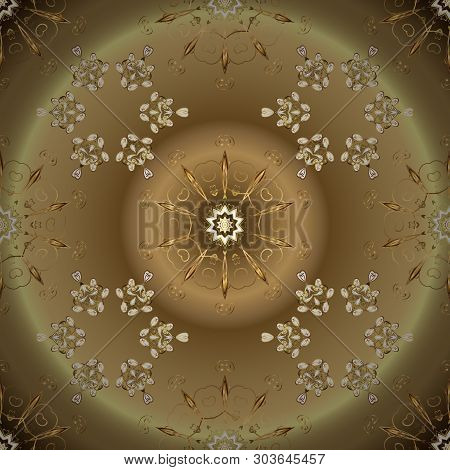 Golden Snowflakes On Beige And Brown Colors. Christmas Golden Snowflake Seamless Pattern. Winter Sno