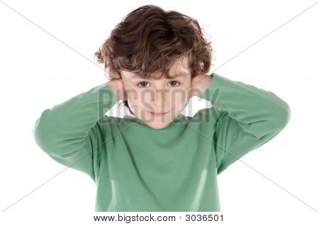 Child Holding His Hands Against His Ears