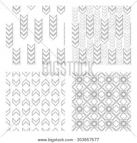 Chevron Patterns Set. Set Of Trendy Black And White Chevron Patterns, Chevron Arrow With Modern Sewi