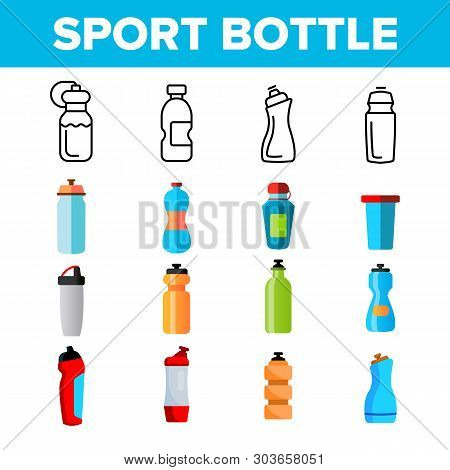 Sport Bottle, Fitness Accessory Vector Thin Line Icons Set. Sport Bottle, Plastic, Metal Container F