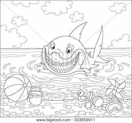 Funny Great White Shark Swimming In Water On A Summer Sea Beach And Friendly Smiling, Black And Whit