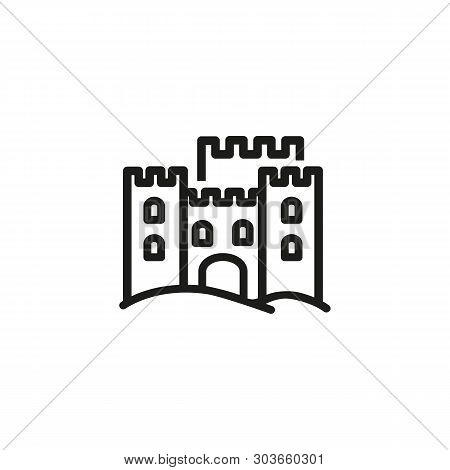 Sand Stronghold Line Icon. Fortress, Ancient Building, Destination. Sand Castles Concept. Vector Ill