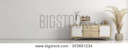 Modern interior of living room with wooden dresser and palm over white wall panorama 3d rendering poster