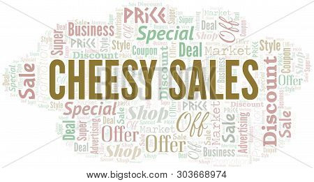 Cheesy Sales Word Cloud. Wordcloud Made With Text.
