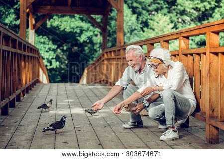 Contended Couple Feeding Up The Pigeons On The Bridge