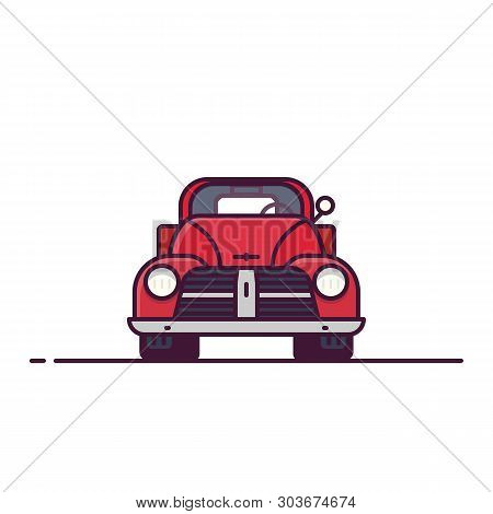 Front View Of Retro Pickup. Line Style Vector Illustration. Off Road And Pick Up Delivery Retro Vehi