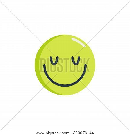 Happy Face Emoticon Flat Icon, Satisfied Face Emoji Vector Sign, Colorful Pictogram Isolated On Whit