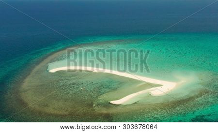 Sandy White Island With Beach And Sandy Bar In The Turquoise Atoll Water, Aerial Drone. Sandbar Atol