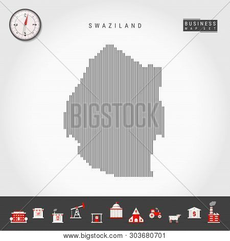 Vector Vertical Lines Pattern Map Of Swaziland. Striped Simple Silhouette Of Eswatini. Realistic Vec