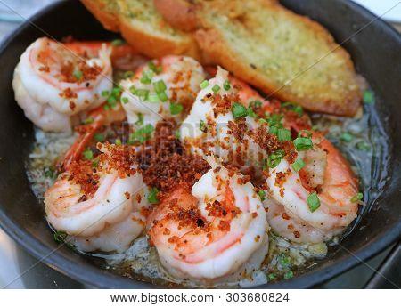 Mouthwatering Spanish Style Garlic Shrimp Or Gambas Al Ajillo In A Hot Pan