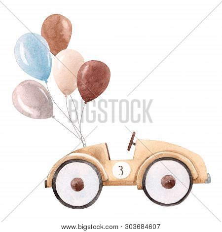 Beautiful Illustration With Watercolor Baby Toy Cars
