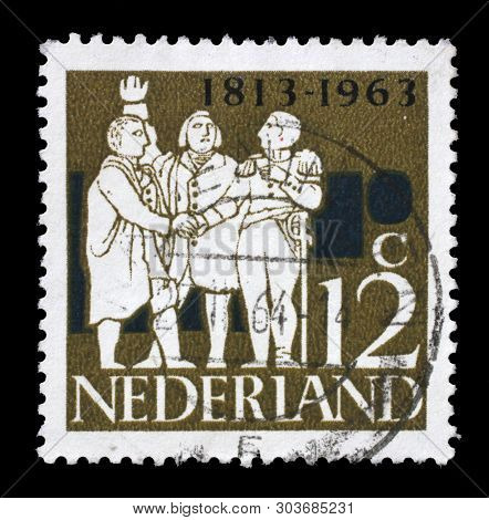ZAGREB, CROATIA - JULY 03, 2014: A stamp issued in Netherlands shows G. K. van Hogendorp, Graf van der Duyn van Maasdam, Graaf van Limburg Stirum, Dutch Leaders, circa 1963.