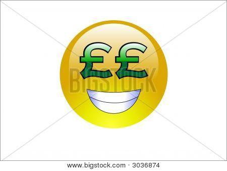 Aqua Emoticon - Pound Signs (Money)