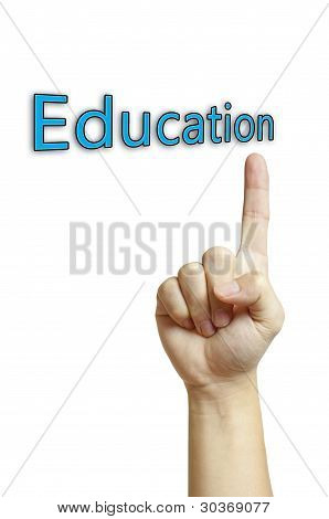 well shape hand pointing to word education isolated on white