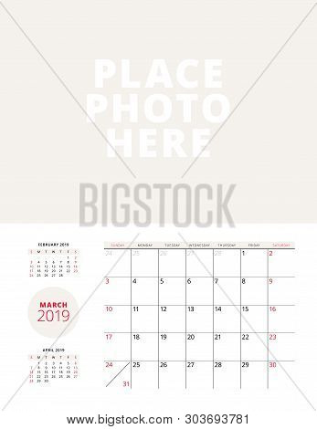 Wall Calendar Planner Template For March 2019. Week Starts On Sunday. Vector Illustration. Stationer