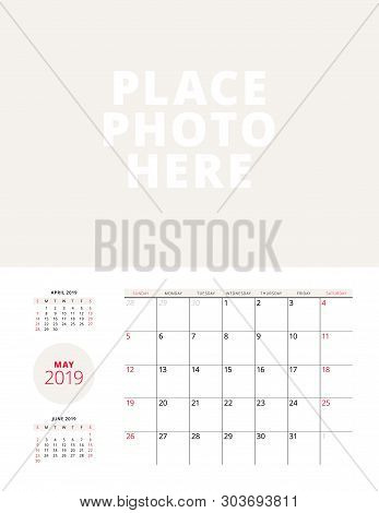 Wall Calendar Planner Template For May 2019. Week Starts On Sunday. Vector Illustration. Stationery