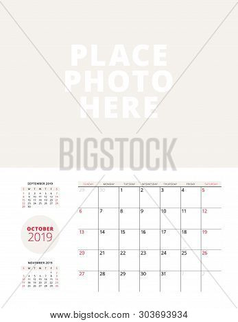Wall Calendar Planner Template For October 2019. Week Starts On Sunday. Vector Illustration. Station