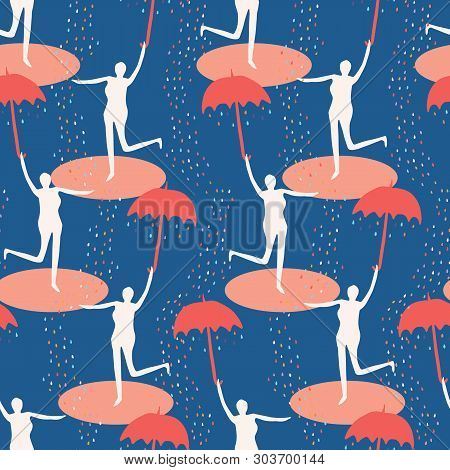 Female Figure Holding Open Umbrella. Singing In The Rain Seamless Vector Pattern. Woman Leaping In W