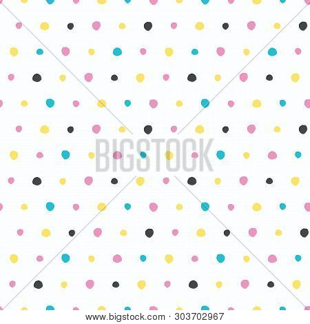 Abstract Organic Cut Dotty Circles. Vector Pattern Seamless Background. Hand Drawn Textured Style. P
