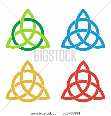 Set Of Celtic Triquetra Knots. Green, Blue, Golden, Red Celtic Trinity Knot. Logo Template Design El