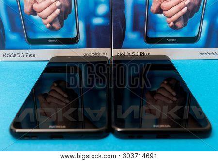 Cluj, Romania - May 13, 2019: Nokia Smartphone Made By Nokia Corporation, A Finnish Multinational Te