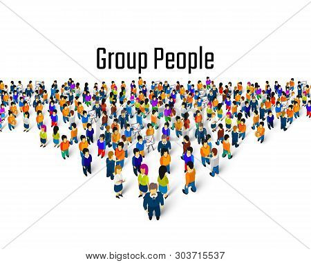 Large Group Of People In The Shape Of A Grossing Arrow, Way To Success Bussiness Concept.