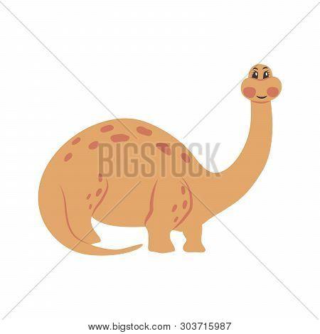 Brachiosaurus Cartoon Dinosaur. Cute Funny Illustration Of Brachiosaurus. Vector Illustration