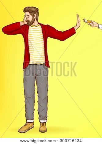 Quit Smoking, Struggling, Fighting With Nicotine Addiction Pop Art Vector Concept. Man Turning Away,