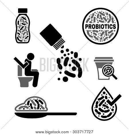 Lactobacillus Probiotics Icon. Normal Gram-positive Anaerobic Microflora Sign. Editable Vector Illus