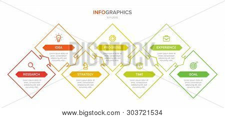 Infographic Design With Icons And 7 Options Or Steps. Thin Line Vector. Infographics Business Concep