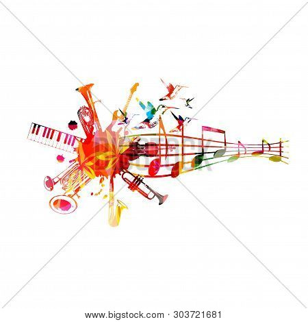 Music Instruments Background With Music Staff. Colorful Trumpet, Saxophone, Double Bell Euphonium, P