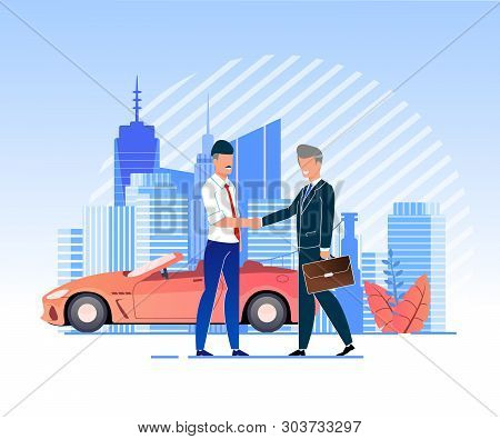 Vector Illustration Verbal Partnership Agreement. Men In Business Suits Shaking Hands Against Backgr