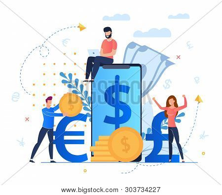 Profit From Currency Exchange Services Cartoon. Man Sits On Screen Large Smartphone. Mobile Applicat