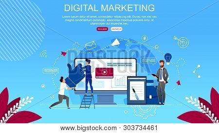 Flat Banner Inscription Digital Marketing Cartoon. Digital Technologies To Attract Potential Custome
