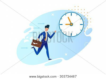 Vector Illustration Being Late For Work Cartoon. Man In Business Suit With Briefcase Runs Against Ba