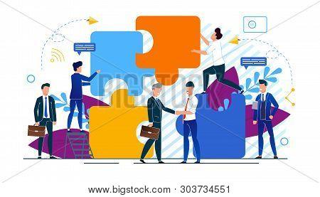 Horizontal Vector Illustration Office Situation. Businessmen Make Partnership Deal. Business Agreeme