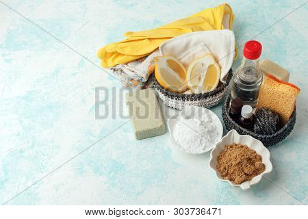 Eco Friendly Natural Cleaning Tools And Products, Metal Brush, Soap, Mustard, Soda, Lemon, Essential