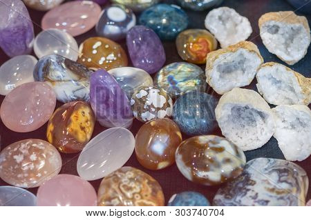 Heap Of Various Colored Gems. Colorful Gemstones. Natural Polished Gemstone Semi Precious Rocks Colo