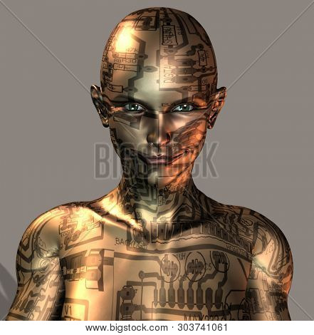 Cyborg Girl with circuit board pattern. 3D rendering