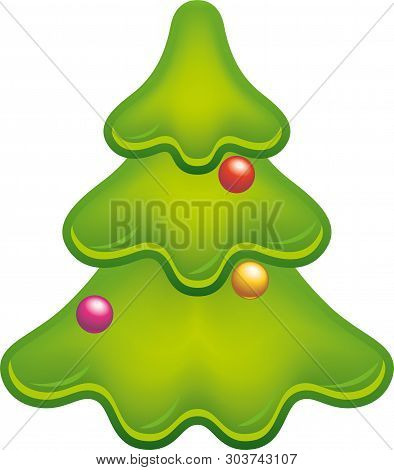 Glossy Christmas Tree Icon With Gradations And Balls.