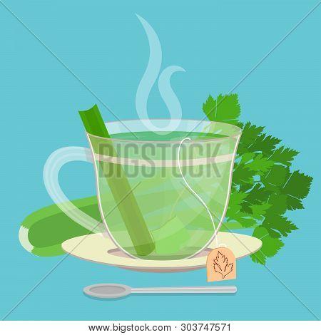 Cup Of Celery Tea. Tea Sachet With Celery Behind The Saucer. Piece Of Celery Inside The Cup. Smoke O