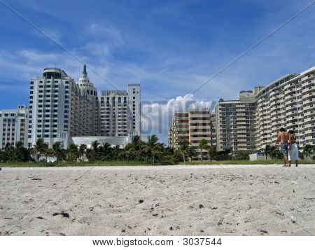 Looking Up At Hotel From Sandy Beach